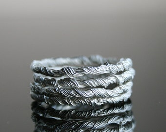 Beading hysteria -  FOUR solid sterling silver narrow rings - made to order in your size