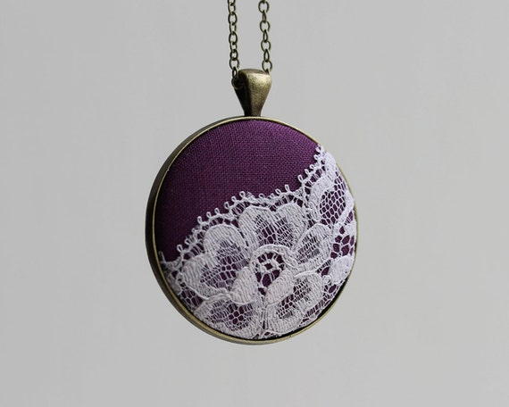 Purple Necklace, Boho Jewelry, Unique Necklace for Women, Wife, Teacher, Fabric Lace Pendant, Gray Purple Bridesmaid Jewelry Flower Necklace