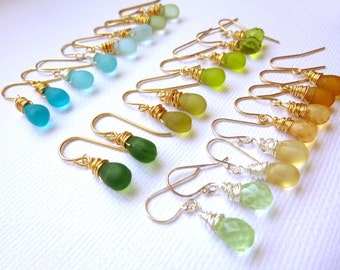 Tiny Faceted Glass Briolette Wire Wrapped Earrings - Silver, Gold, Choose your Color