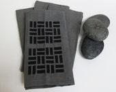 Grey Cotton Napkin with Hand Print Geometric Design - Set of Four