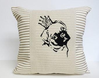 Pug Face Print Pillow, Pug Face Screen Print Pillow, Stripe Decorative Pillow, Decorative Pug Print Pillow, Pug Wearing Crown, Pug Gift