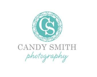 Custom Premade Logo design watermark photography photographer branding business brand boutique aqua teal turquoise blue grey gray