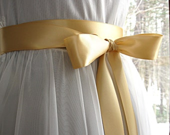 Butterscotch / raw silk wedding sash, bridal sash, bridesmaid sash, bridal belt, 1.5 inch satin