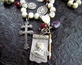 Unique Antique French Rosary Joan of Arc Silver Plate Note Pad+ Silver Cross Lorraine, St. Christopher& car, Mary, Jesus Pendants / Medals