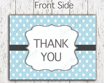 Blue Polka-Dot -Thank You Card- Instant Download