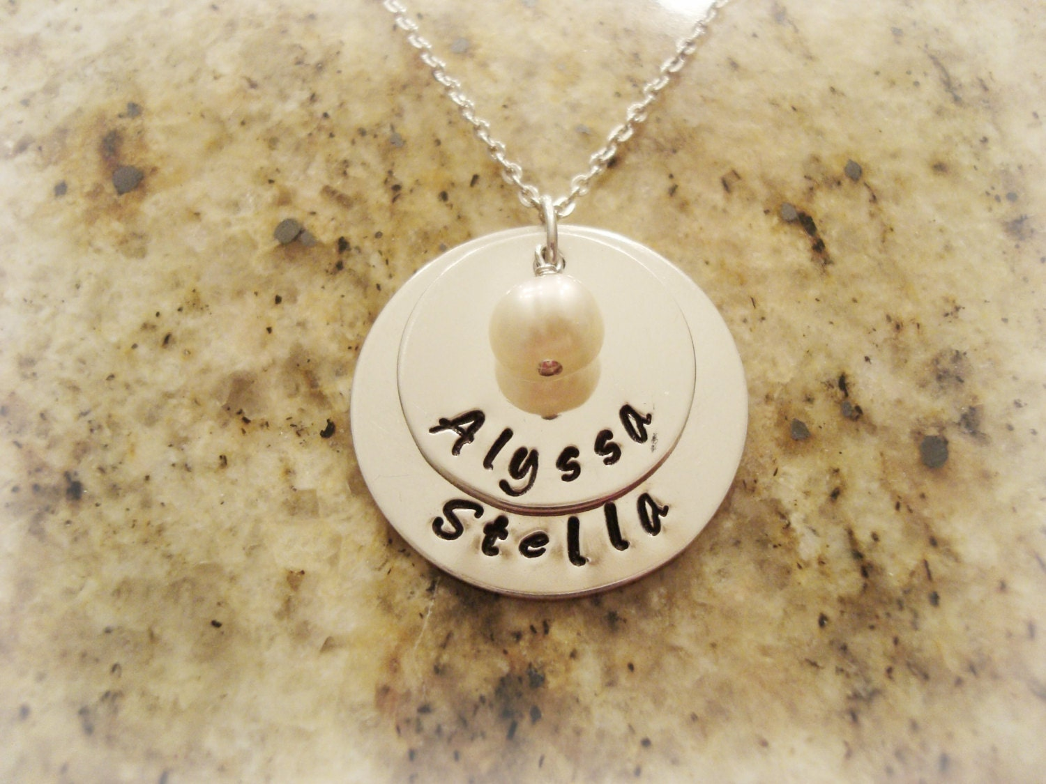 Stamped Sterling Silver Larger Disc Double Necklace with Freshwater Pearl