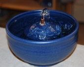 "Ceramic Cat Fountain, Handmade, Foodsafe -  ""Daisy Dance""- 7.75 Inch Diameter"
