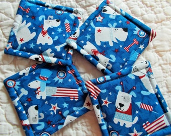 USA Patriotic Dog Quilted Coasters (Set of 4)