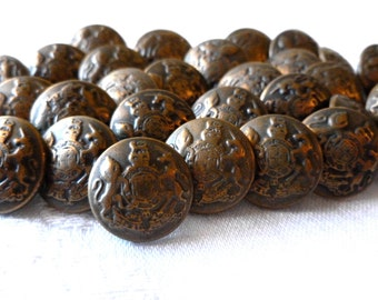 Italian Metal Brass Buttons, Family Crest, Coat of Arms, Military, Made in Italy, 15mm, Metal loop shanks, 10 in lot, Antique Brass style