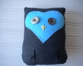 Dark Gray and Light Blue Love Owl with Fancy Tail