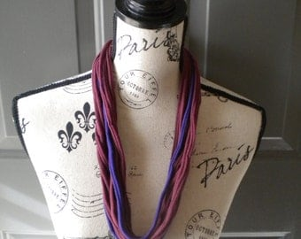 Jersey Scarf Necklace in Burgundy and Grape