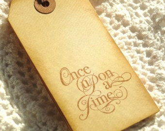 Once Upon a Time Handstamped Tags 6pcs