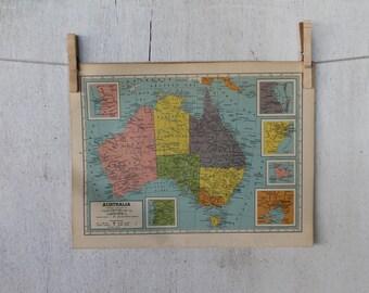 Vintage 1949 Map of Australia, Vintage Hammond's Atlas Page