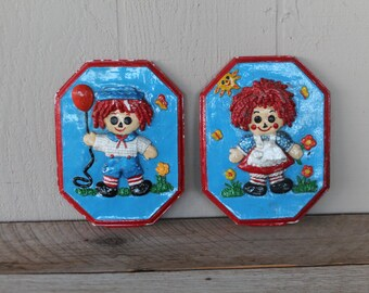 Vintage Raggedy Ann & Andy Plaques