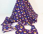 Layette Set Flannel Blanket, bib and burp cloths set patchwork purple cupcake print