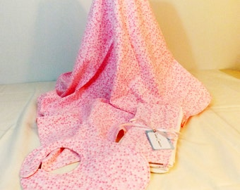 Layette Set Flannel Blanket, bib and burp cloths set  pink polka dots print