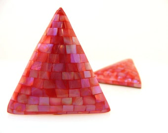 Vintage Hot Pink Mother of Pearl Shell Mosaic Post Earrings Large Triangles 1980s