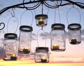 DIY Party Lanterns 12 Wide Mason Jar Hangers for Wedding Candles, Flowers or String Lights, Beach, Country, Outdoor Event, Ball Hanging Lids