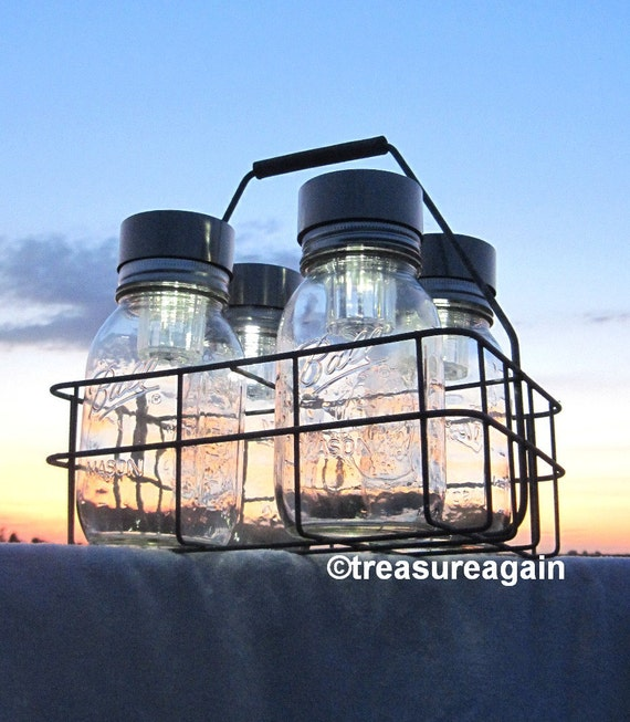 Ball Solar Jar Lights Basket 4 Canning Jars, Antique Milk Bottle Carrier, Dairy Basket with Canning Fruit Jars, Mason Jar Solar Lighting