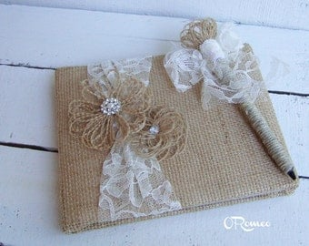 Cottage Chic Rustic Burlap Lace Pearl and Rhinestone Guest Book and Pen Set. Style: Sheron Set