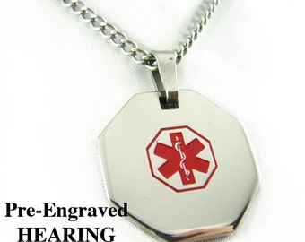 Pre-Engraved HEARING IMPAIRED Medical Alert Necklace, Stainless Steel, P1