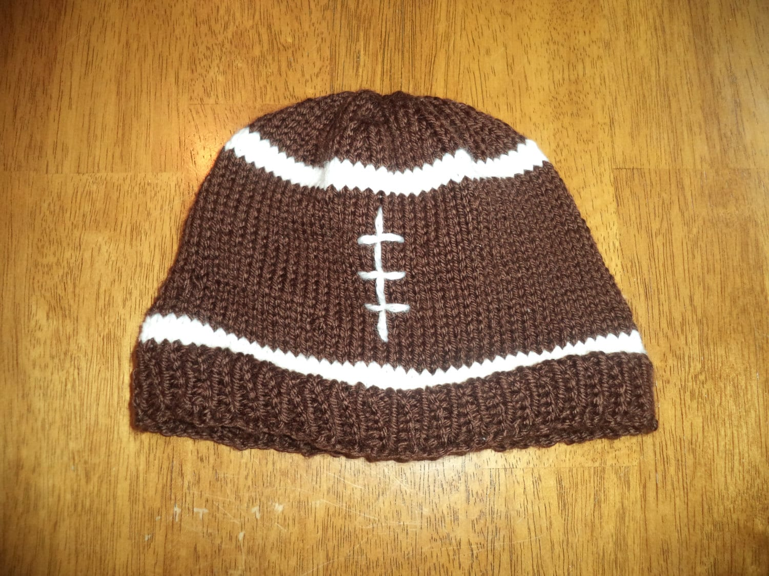Baby football hat hand knit