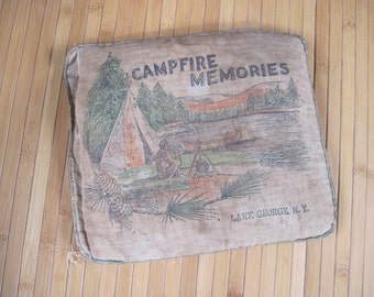 CAMPFIRE MEMORIES from Lake George, NY - vintage Balsam Pillow, extra large Adirondack Mountains souvenir satchel