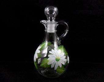 Bath Salt Bottle Hand Painted Glass Bottle White Daisies Oil Bottle