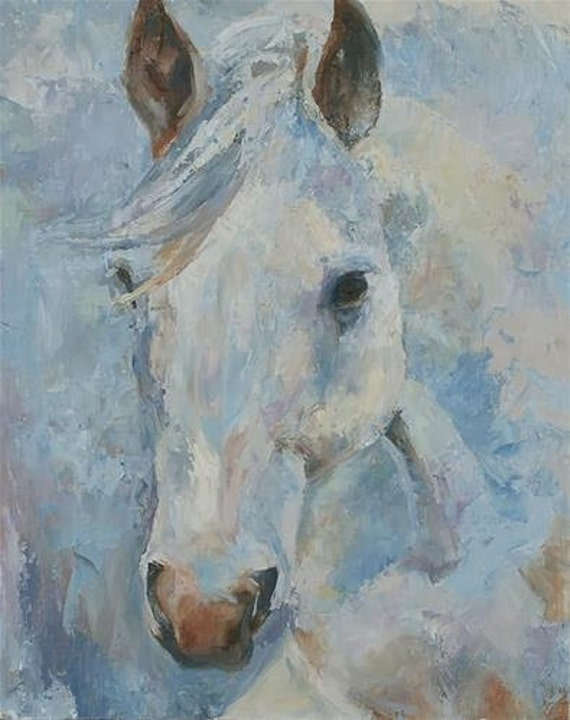 White horse painting horse painting Palette knife painting