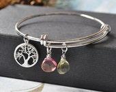 Personalized Birthstone and Family Tree Charm Bangle Bracelet, Silver Adjustable Bangle Bracelet, Expandable  bangle bracelet