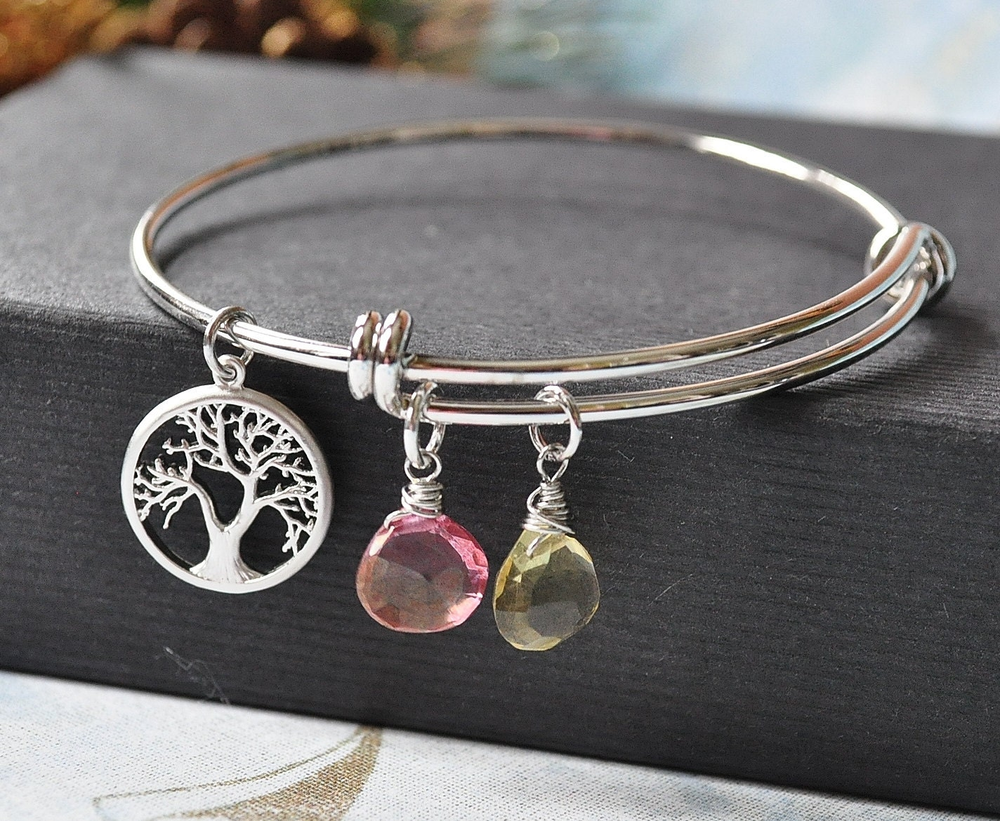 personalized birthstone and family tree charm bangle bracelet. Black Bedroom Furniture Sets. Home Design Ideas