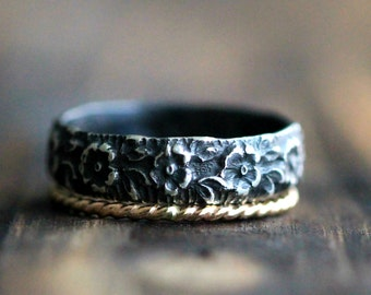 Stackable Rings, Wide Flower Ring, Recycled Silver Band & Twisted 14K Gold Filled Stacking Ring w Secret Message by Pale Fish, R023