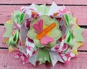 Dragonfly Floral Hair Bow: M2M Hair Bow, Spring Birthday, Boutique Hair Barrette, Girl School Bow