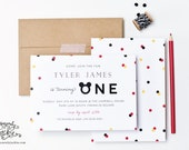 Mickey Mouse Inspired First Birthday Party Confetti Invitations by Sincerely, Jackie