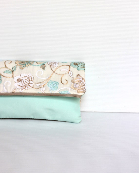 Floral Minty Ice Blue Lace Foldover Clutch, Fold Over Lace Evening Purse