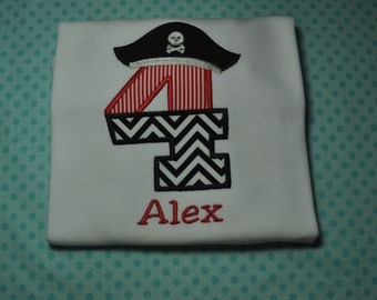 Pirate Birthday Shirt or Bodysuit -FREE  - Any Numbercan be Made