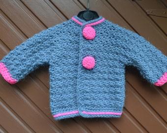 Crochet pattern : little baby jacket or vest in 3 sizes (instant download pattern)