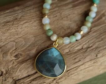 Peruvian Opals and Labradorite Necklace