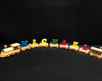Wooden Name Train (3 to 11 painted letters)  Handmade Heirloom Quality- receive order in 5 business days