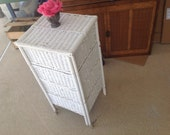Vintage WHITE WICKER CADDY Folding Wicker Storage Sewing Caddy Cart Shabby Chic Cottage Style On Sale at Retro Daisy Girl