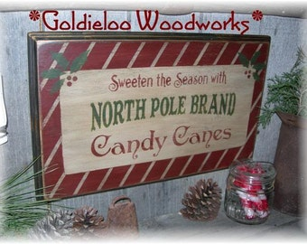 North Pole Brand Candy Canes, Wood Wall Sign, Primitive, Christmas