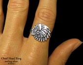 Indian Chief Head Ring Sterling Silver