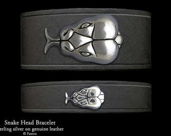 Snake Head Leather Bracelet Sterling Silver Snake Head on Leather Bracelet