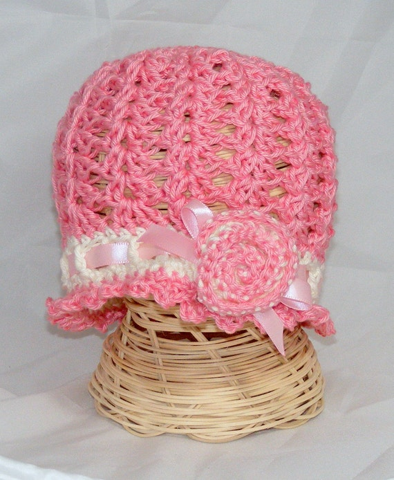 Crochet Baby Hat cloche hat spring hat Swirly heart or rose rosette lightweight summer cloche infant photo prop newborn infant baby girl