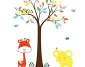 Nursery Jungle Vinyl Wall Decal Set Owls Birds Colorful Tree