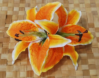 Amazing pin up hair double lily flower in bright yellow and orange rockabilly wedding vintage style