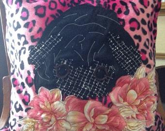 "16"" leopard black pug PILLOW COVER"