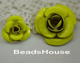 6pcs -28mm Pretty Rose Enamal Coatting Beads Finding.-Apple Green