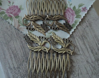 Sale: HC-43Ant  2pcs Untique Antique Brass Filigree hair combs, Nickel Free