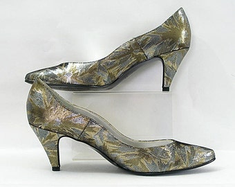 1980s High Heels / 80s Silver Gold Metallic Abstract Pumps Shoes / 8  8.5N